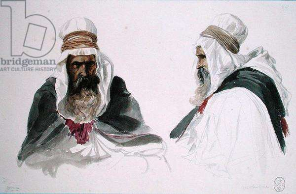 Double Study of a Seated Arab, from 'Album Algerie et Camp de Compiegne', 1875 (w/c on paper)
