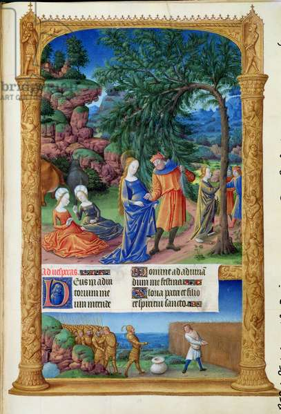 Ms 65/1284 f.57r Rest on the Flight into Egypt, from the Tres Riches Heures du Duc de Berry, early 15th century (vellum)