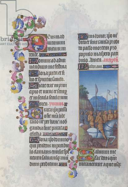 Ms. 65/1284 fol. 153v A Marching Army, from 'Très Riches Heures du Duc de Berry' (vellum)