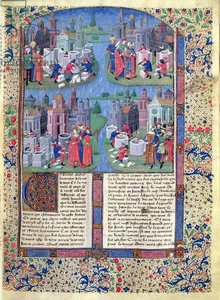 Ms 728/312 fol.127v Trojans build Troy, Dido builds Carthage, Romulus builds Rome, French edition of original written by Jean de Courcy (c.1350-1431) (vellum)