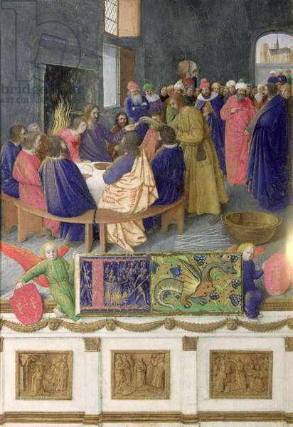 Ms Fr 71 f.31 The Last Supper, from the Hours of Etienne Chevalier, c.1445 (vellum)