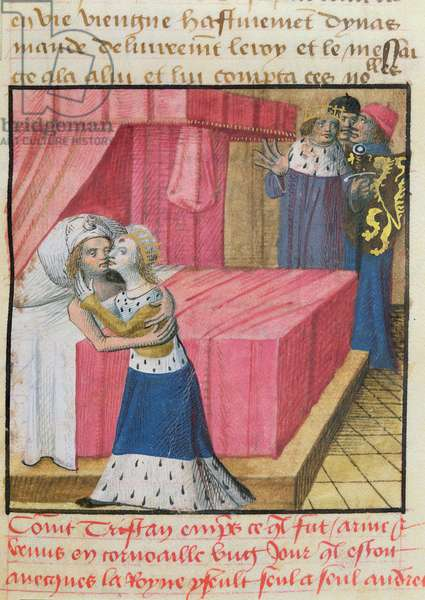 Ms.645-647/315-317 t.3 fol.262 Death of Tristan and Isolde, from the Roman de Tristan (vellum)
