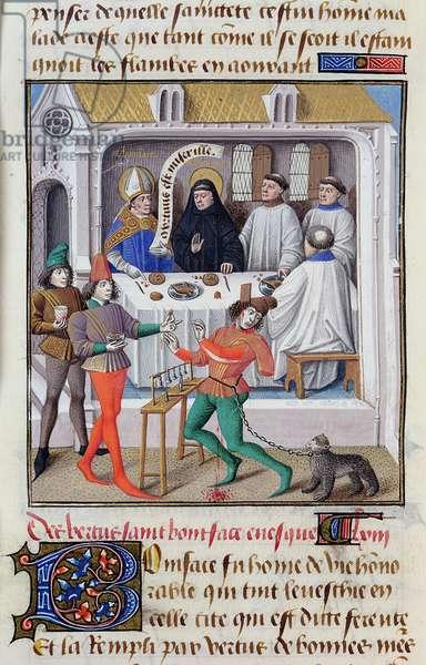 Ms 722/1196 fol.24v St. Boniface (c.673-754) Archbishop of Mainz and St. Venantius Fortunatus (c.535-c.605) from Le Miroir Historial, by Vincent de Beauvais (vellum)