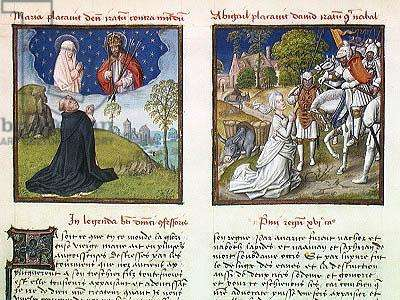 Ms 139/1363 f.38v Mary the Mediator and Abigail Pleading with David, from 'Le Miroir de l'Humaine Salvation' (vellum)
