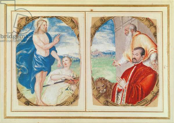 Two pieces of a manuscript depicting Christ with saints and a donor (vellum)