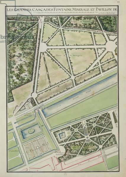 Large waterfalls and fountains, Château de Chantilly, Fol. 25, Atlas du Comte du Nord, 1784 (ink & w/c on paper)