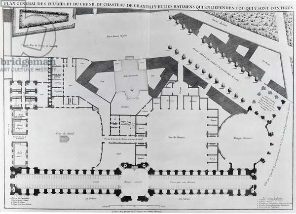Plan of the stables and kennels of the Chateau de Chantilly (b/w photo)