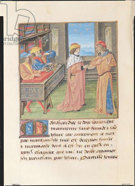 Ms 297/1338 f.122v Usury, from the Book of Good Morals, by Jacques le Grant (1360-1415) (vellum)
