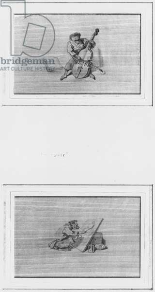 Monkey musician, monkey painter (pencil on paper) (b/w photo)