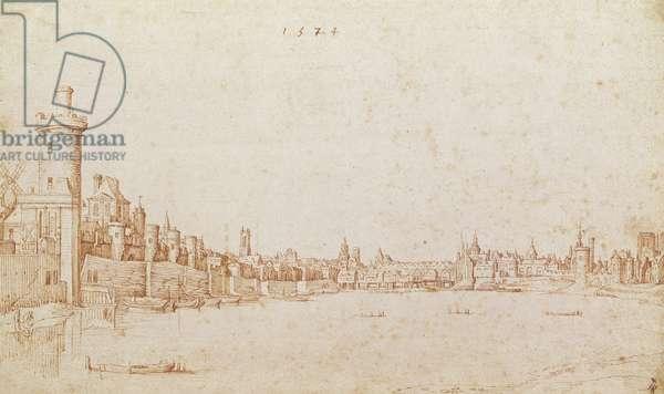 View of Paris and the Seine from the tip of the Ile de la Cité (now Square du Vert Galant), 1574 (pen & ink on paper)