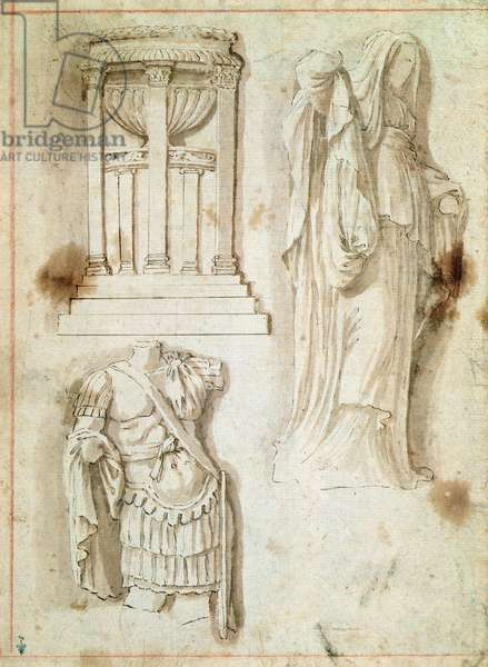 Monument with columns, torso of a warrior and statue of a woman (pen, brown wash and ink)