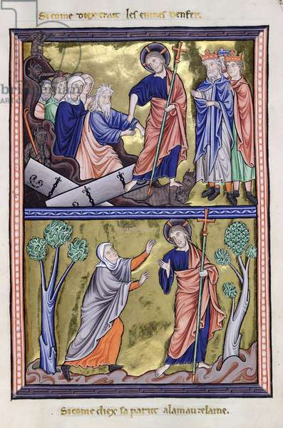MS 9/1695 fol.29 Christ in Hell and the Apparition of Christ to Mary Magdalene, from the Psalter of Ingeburg of Denmark, c.1210 (vellum)