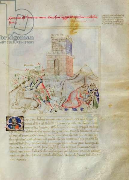 Ms. 599/1426 fol. 3r Judith and Holofernes, Panegyric of Bruzio Visconti written by Bartolomeo da Bologna di Bartoli (fl.1374) (vellum)