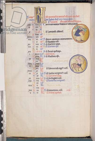 Ms 9/1695 Month of November, from the 'Psautier d'Ingeburg de Danemark', c.1210 (vellum)