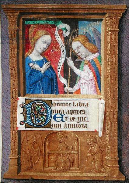 Ms 80/1399 The Annunciation, from a Horae (vellum)