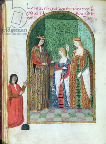 Ms 604/1339 f.30v King Ferdinand II of Aragon and Isabella of Castile with Joanna the Mad, from the 'Devotionary of Queen Juana the Mad', c.1482 (vellum)
