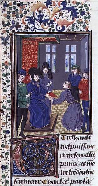 Ms 755/467 fol.13r Charles the Bold presented with the book, from 'Des Faits du Grand Alexandre' (vellum)