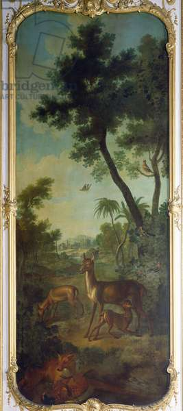 A Roe Deer, a Doe and a Fawn with a Fox Eating a Pheasant, panel from the bedroom of Louis Henri I (1692-1740) Prince de Conde (oil on canvas)