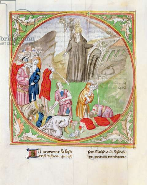 Ms. 28/1378 fol.78v The Reversal of the Church, Executions, from 'Histoire Extraite de la Bible et Apocalypse' (vellum)