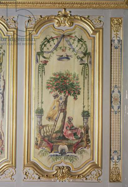 Picking Cherries, from 'La Petite Singerie' (painted panel)