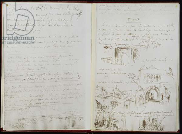 Album of the voyage to Morocco, view of Meknès and its surroundings fol. 22, 1832 (ink on paper)