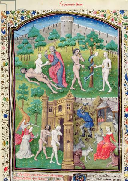 Ms 860/401 f.7 The Story of Adam and Eve, detail from `Cas des Nobles Hommes et Femmes' by Boccaccio, translated by Laurent de Premierfait, 1465 (vellum) (detail of 234493)