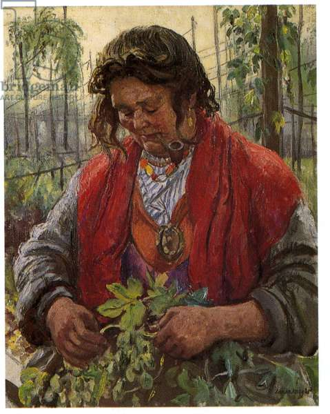 Hop Picking Granny Knowles, c.1940 (oil on canvas)