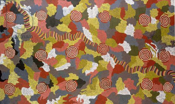 Rainbow Serpent Dreaming, painted with the assistance of his wife Wingie Napaltjarri, 1989 (acrylic)