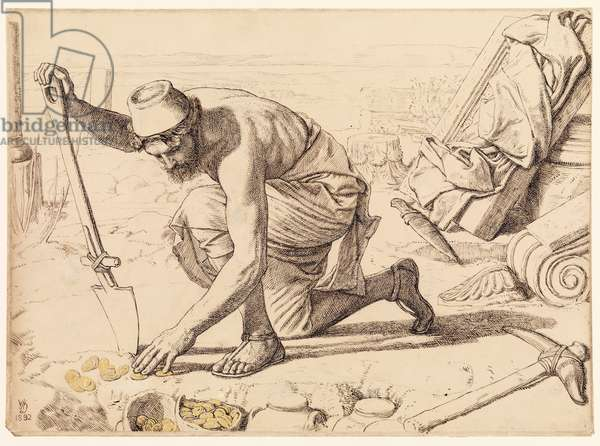 The Hid Treasure, 1892 (graphite, pen & black ink, brush and black and grey wash, gold bodycolour on wove paper)