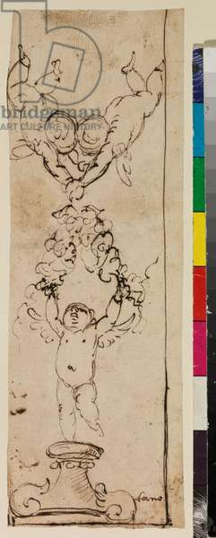 Design for an upright decorative panel with three angels holding a garland, 17th century (pen & dark brown ink on laid paper)