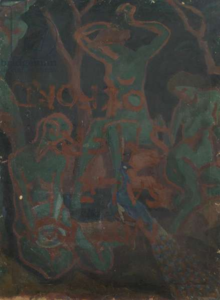 Female Nudes in a Landscape (verso), 1915 (oil, bodycolour and collage on cardboard)