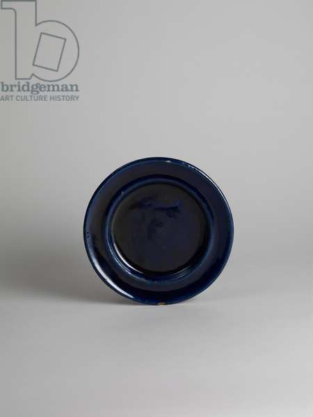 Blue glazed side or fruit plate, 1914-18 (blue-glazed earthenware)