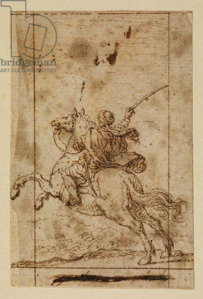 Mounted warrior in Ottoman dress, 17th century (black chalk, pen & brown ink on laid paper with brown ink framing lines)
