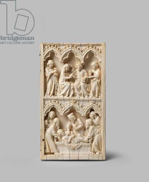 Right wing of a diptych depicting the Entombment of Christ and the Coronation of the Virgin, 14th century (carved ivory, gilding)