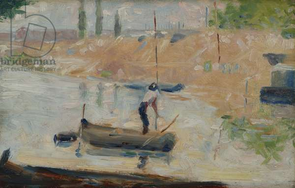 Man in a boat, c.1884 (oil on panel)