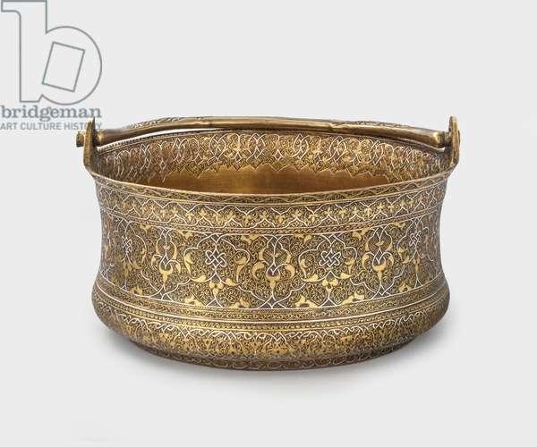 Bucket, 1475-1550 (engraved brass & silver inlay)