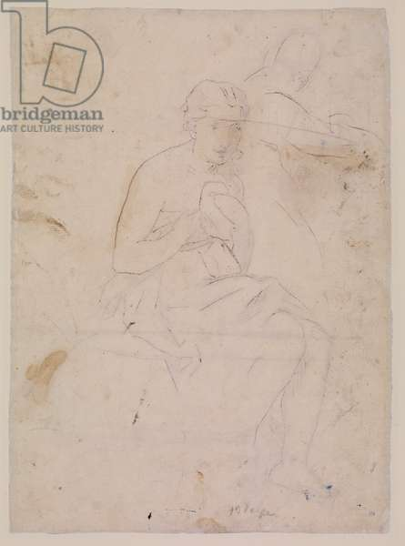 Incised marks of La Toilette (verso), 1860 (red chalk on laid paper)