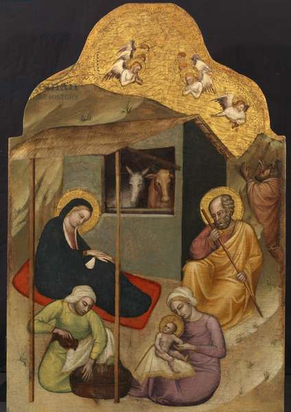 Nativity, c.1380 (tempera on panel) (see 6041449 for verso)