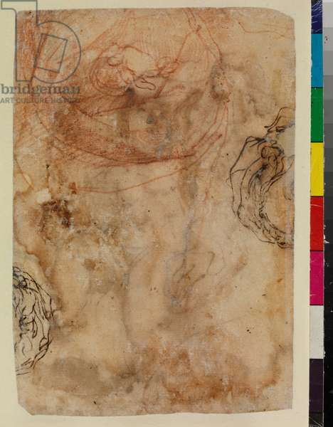 Studies of a hand and sleeve; two female heads (fragmentary) (verso), 17th century (red chalk, pen & brown ink on laid paper) [see also 5948333]