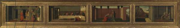 Scenes from the life of Mary Magdalene (four predella panels - a. Christ teaching; b. feast in the house of Simon; c. Noli me Tangere; d. last moments of the Magdalene), 1930 (oil on photographic print mounted on panel)