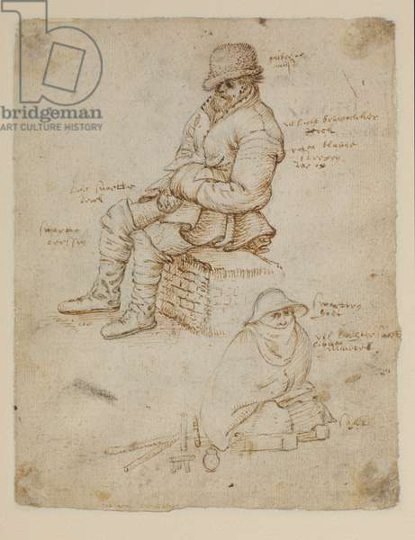 Two seated figures (verso), 1550-59 (pen and ink & black chalk on paper)