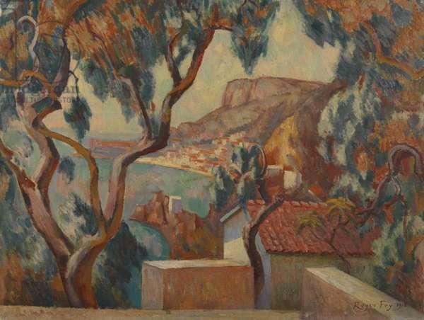 View on the Cote d'Azur, Menton, 1916 (oil on canvas)