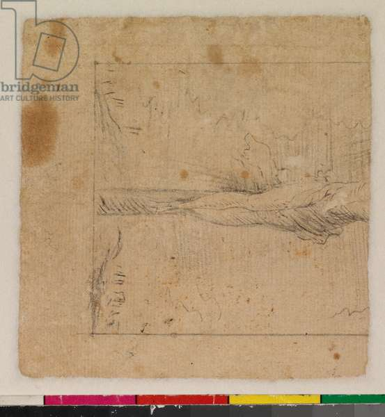 Christ crucified, fragment (verso), 17th century (black chalk on laid paper)