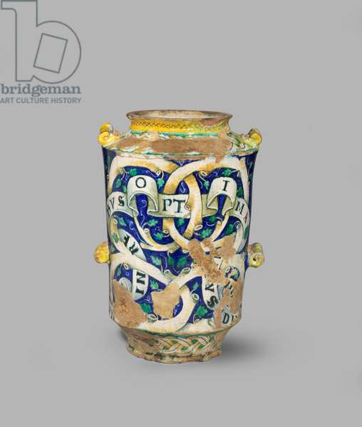 Two-handled jar with interlace and chimera patterns on a blue ground, c.1520-c.1540 (tin-glazed earthenware (maiolica))