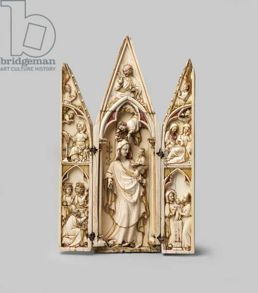 Triptych depicting Virgin and Child, 14th century (carved ivory with traces of pigment and gilding, with silver ring hinges and catch)
