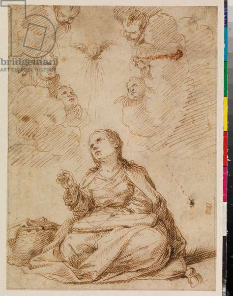Young Virgin Mary sewing, 17th century (pen & brown ink on laid paper, with graphite framing lines)