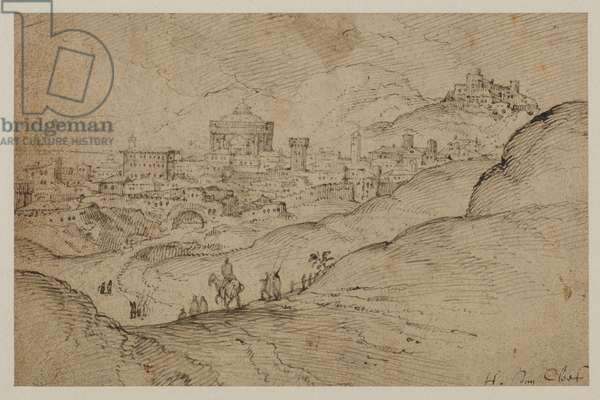 Landscape with view of a town, 16th century (traces of graphite, pen & brown ink on buff laid paper)