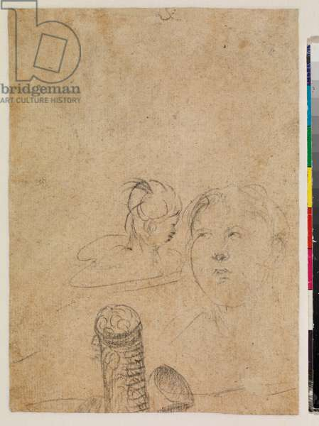 Head of a woman and an unidentified object (verso), 18th century (black chalk on laid paper)