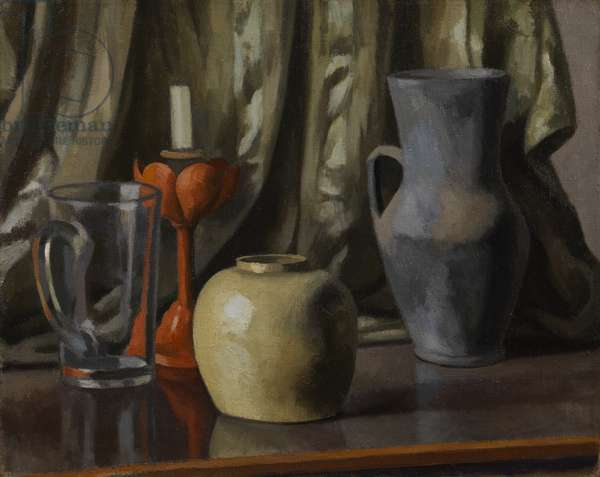 Still Life with Candle and Earthenware Pots, 1921 (oil on canvas)