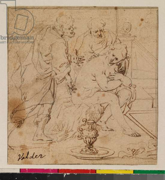 Susannah and the Elders (recto), 17th cemtiru (traces of charcoal, pen & brown ink over brown-grey ink, with brown ink framing lines on laid paper)